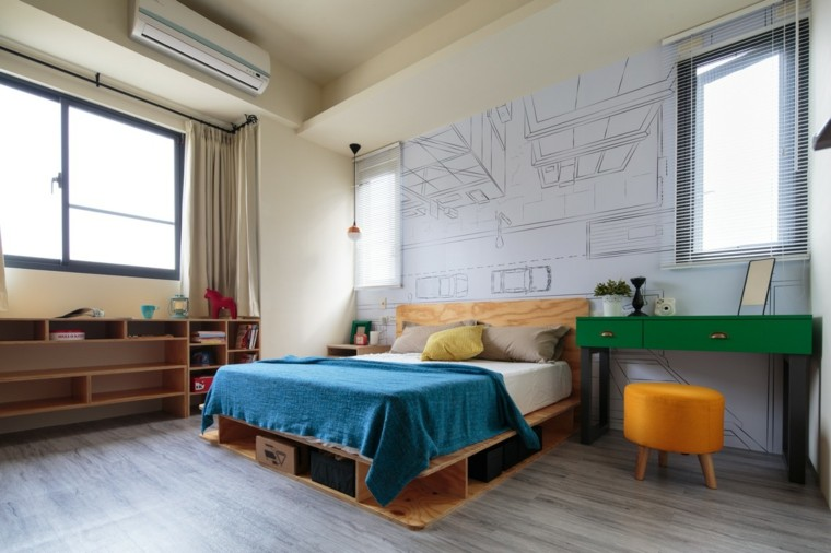 dormitorio estilo minimalista moderno armarios abiertos estanterias ideas