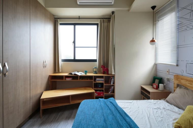 dormitorio estilo minimalista moderno banco madera ideas