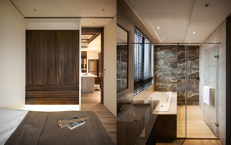 Baño De Lujo Moderno:dormitorio al estilo minimalista con baño lujoso