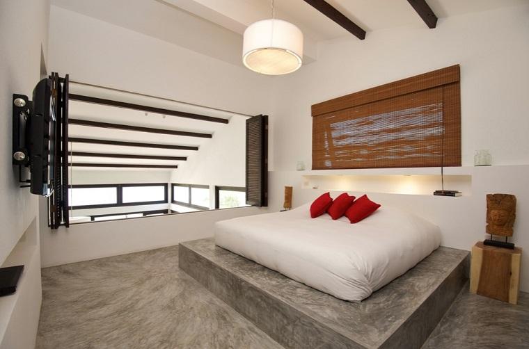 dormitorio estilo minimalista moderno cama blanca ideas