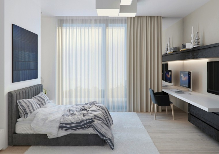 dormitorio estilo minimalista moderno cuadro negro pared ideas