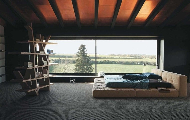 dormitorio estilo minimalista moderno estanterias madera ideas