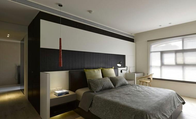 dormitorio estilo minimalista moderno masculino lampara roja ideas