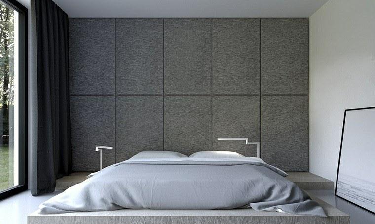 dormitorio estilo minimalista moderno paneles grises ideas