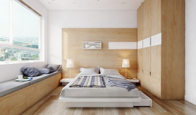 dormitorio estilo minimalista moderno paneles madera banco ideas