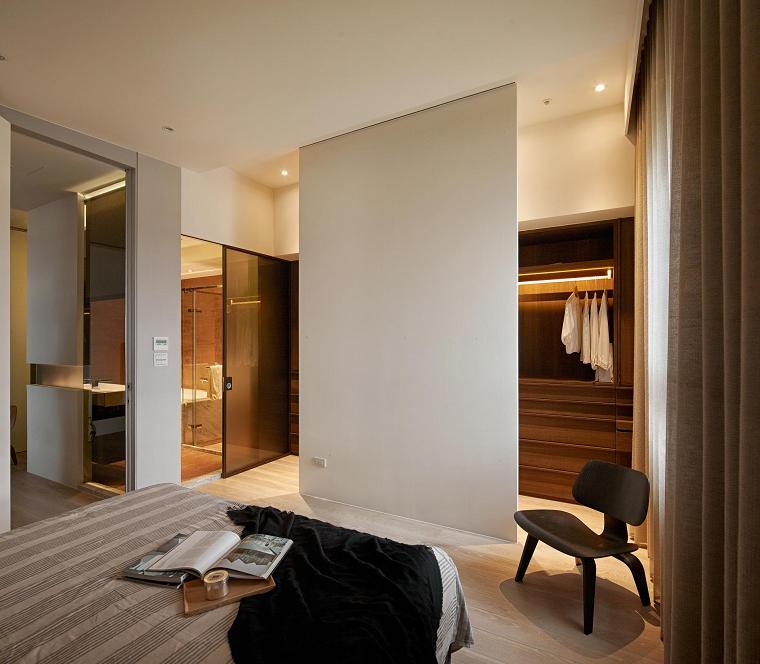 dormitorio estilo minimalista moderno pared blanca separadora ideas