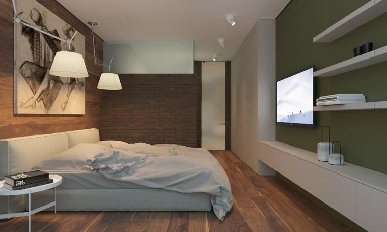 dormitorio estilo minimalista moderno pared verde ideas