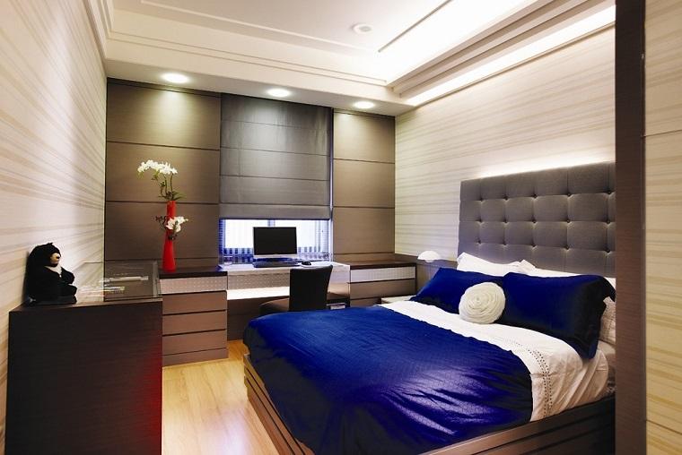 dormitorio estilo minimalista moderno ropa cama azul ideas