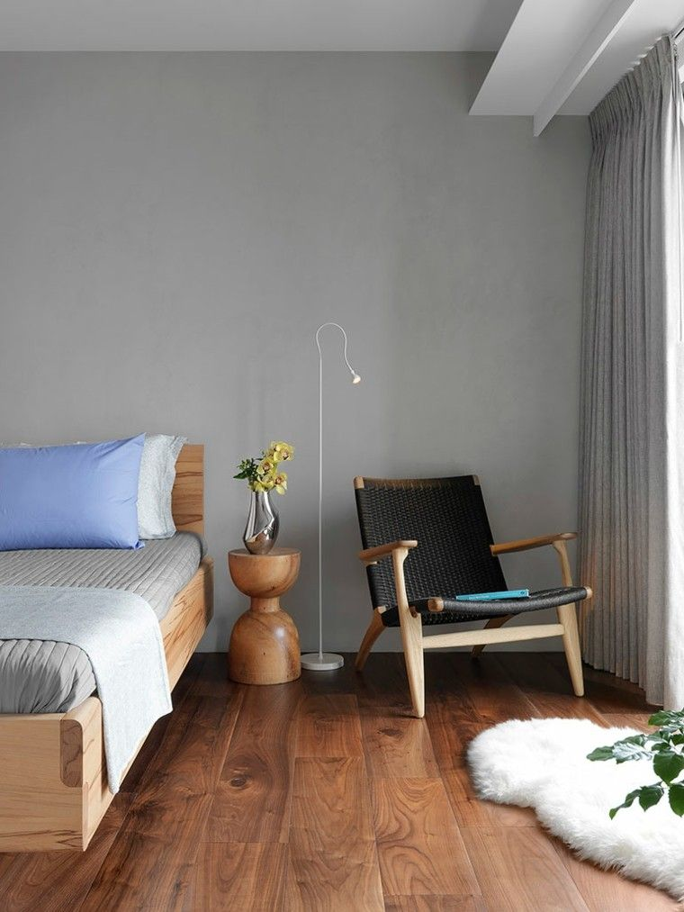 dormitorio estilo minimalista moderno silla negra ideas