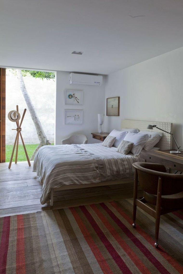 dormitorio estilo minimalistas alfombra colores ideas