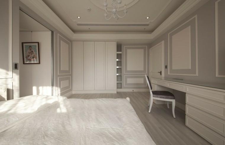 dormitorio estilo minimalistas armario blanco empotrado ideas