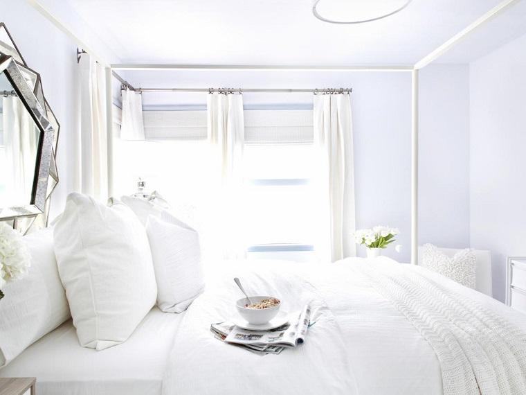 dormitorio estilo minimalistas cama dosel blanco ideas