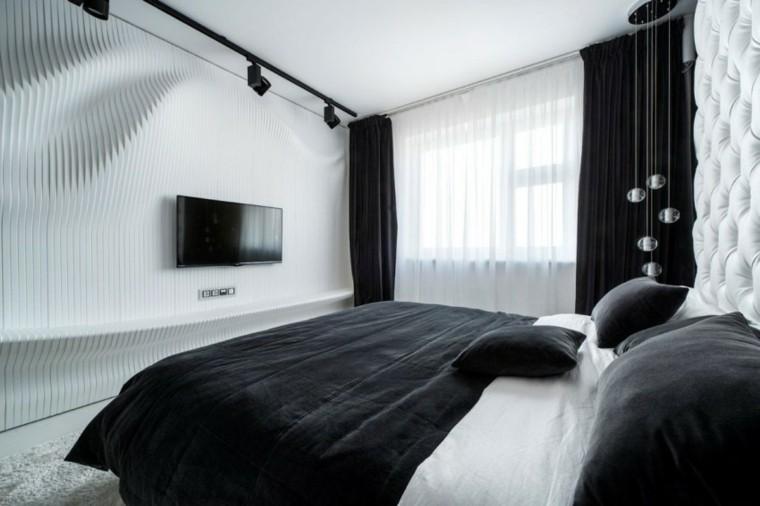 dormitorio estilo minimalistas cortinas negras ideas