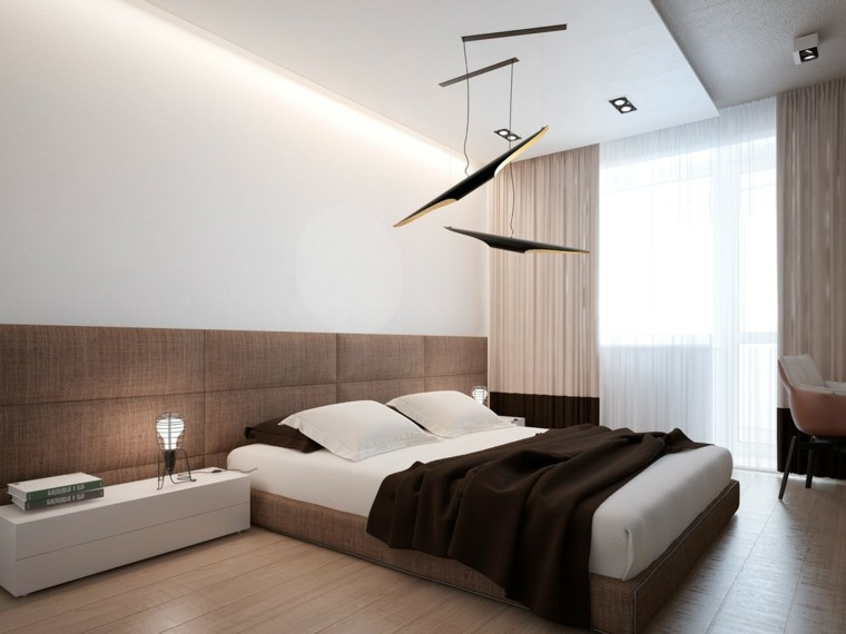 Interiores minimalistas 100 ideas para el dormitorio - Lamparas modernas para dormitorio ...
