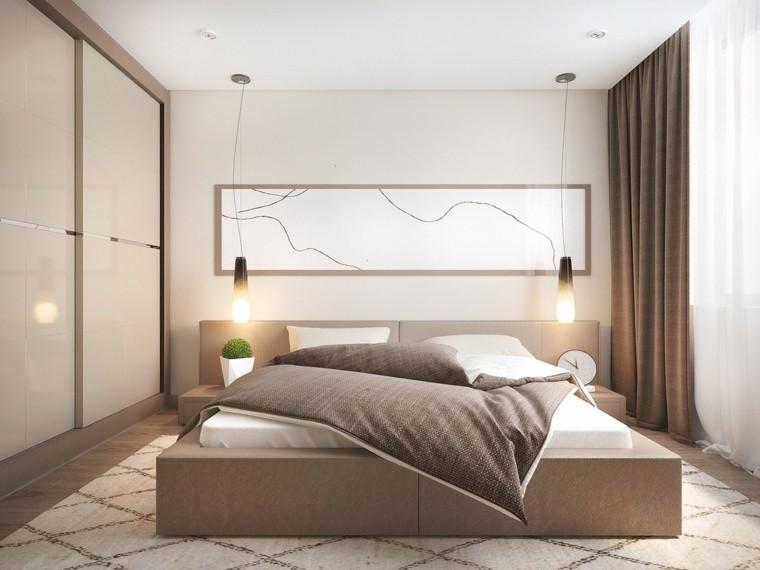 Interiores minimalistas 100 ideas para el dormitorio - Lamparas para dormitorios de matrimonio ...