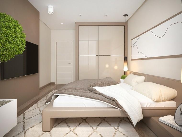 dormitorio estilo minimalistas maceta grande blanca ideas