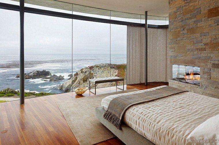 dormitorio estilo minimalistas moderno chimenea banco ideas
