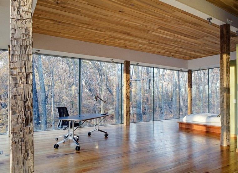 dormitorio estilo minimalistas moderno columnas madera ideas