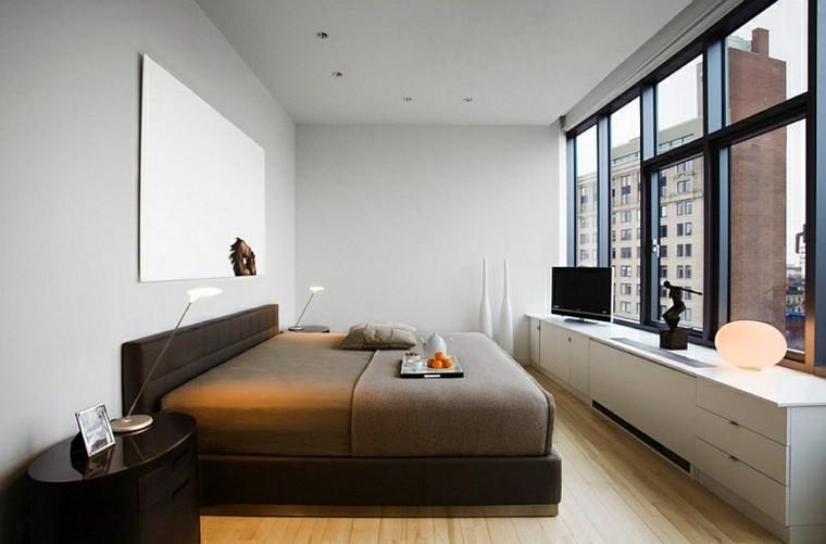 dormitorio estilo minimalistas moderno exquisisto cama marron ideas