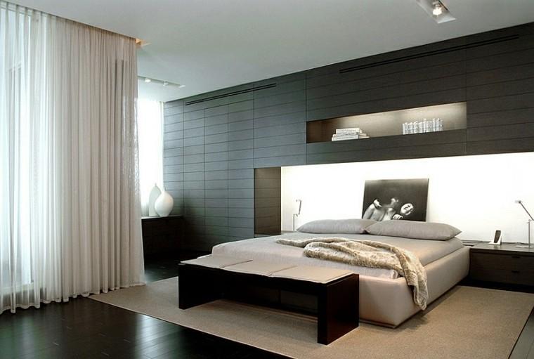 dormitorio estilo minimalistas moderno pared negra cortina ideas