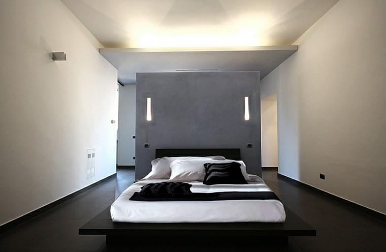 dormitorio estilo minimalistas moderno plataforma negra cama ideas