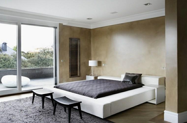 dormitorio estilo minimalistas moderno taburetes negros ideas