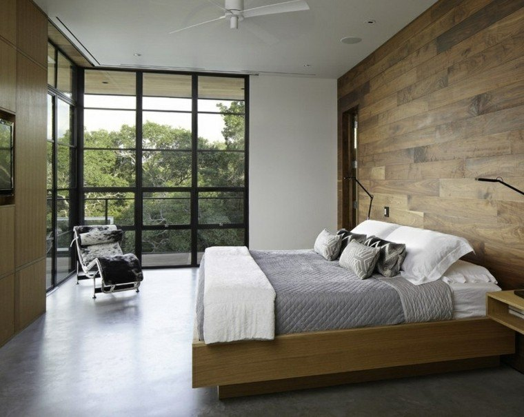 Interiores minimalistas 100 ideas para el dormitorio - Pared de madera interior ...