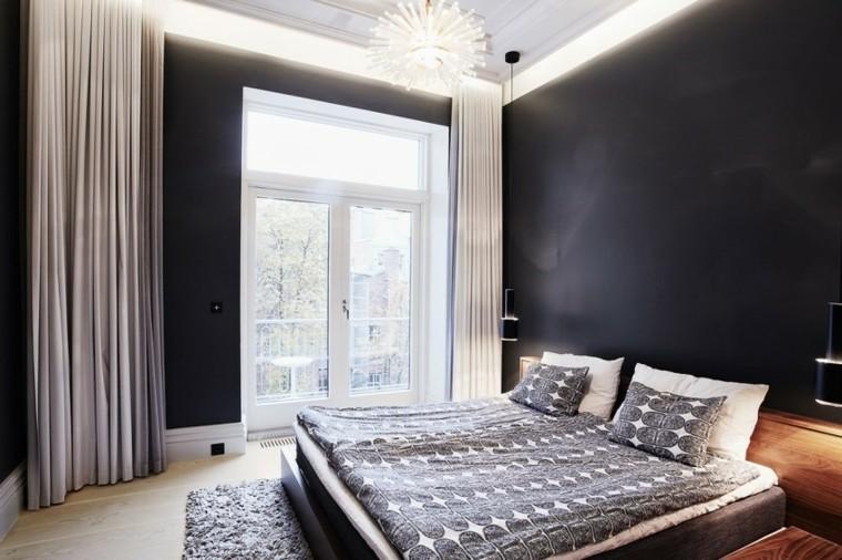 dormitorio estilo minimalistas paredes negras ideas
