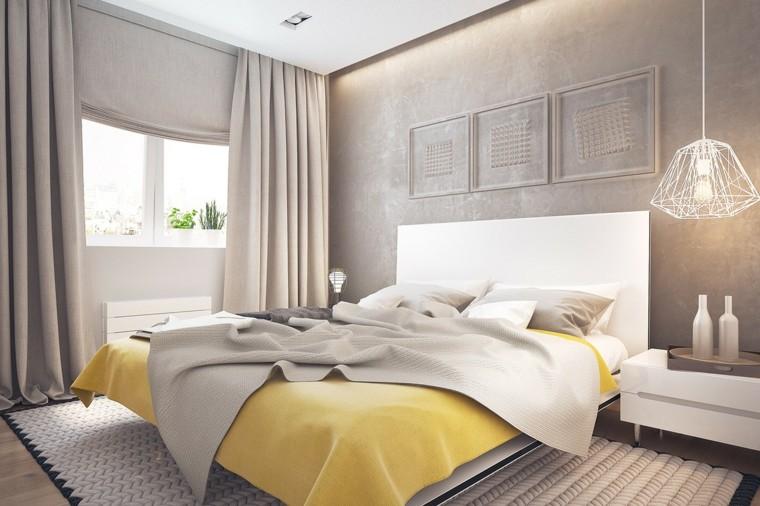 dormitorio estilo minimalistas ropa cama amarilla ideas
