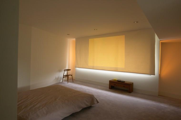 dormitorio estilo minimalistas silla madera estores ideas