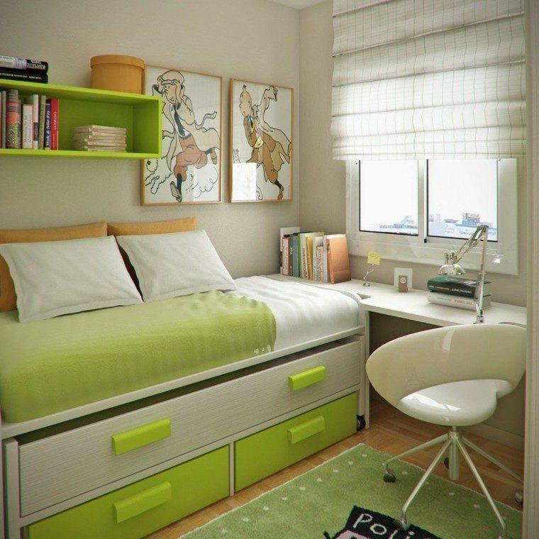 dormitorio estrecho cama armarios escritorio ideas