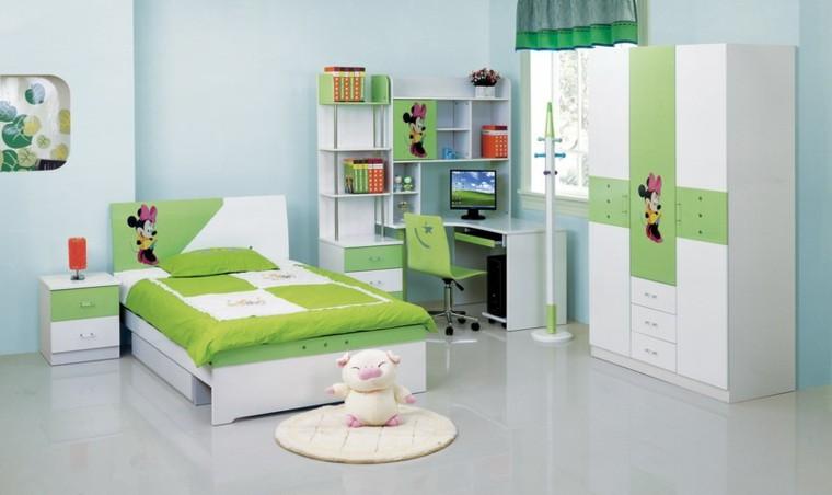 dormitorio infantil cama verde cerdo