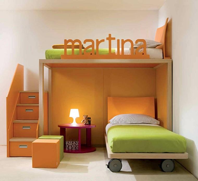 dormitorio infantil litera naranja lampara