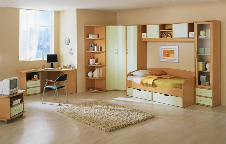 dormitorio infantil sillas computadora madera