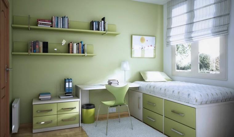 dormitorio infantil verde librero paredes