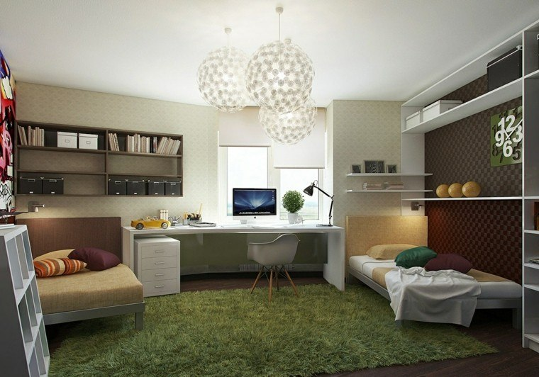 dormitorio juvenil alfombra preciosa escritorio ideas