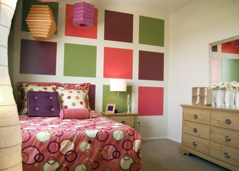 dormitorio juvenil cuadrados pared