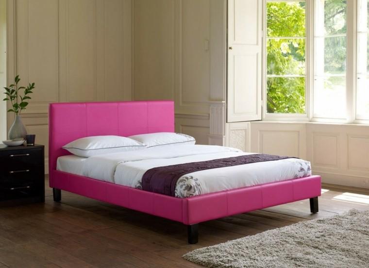dormitorio estilo minimalista cama rosa