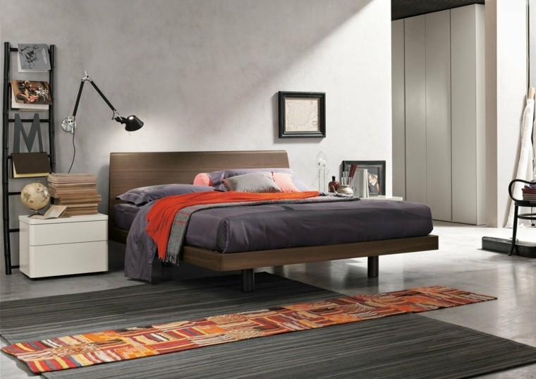 dormitorio moderno alfombra original cama madera ideas