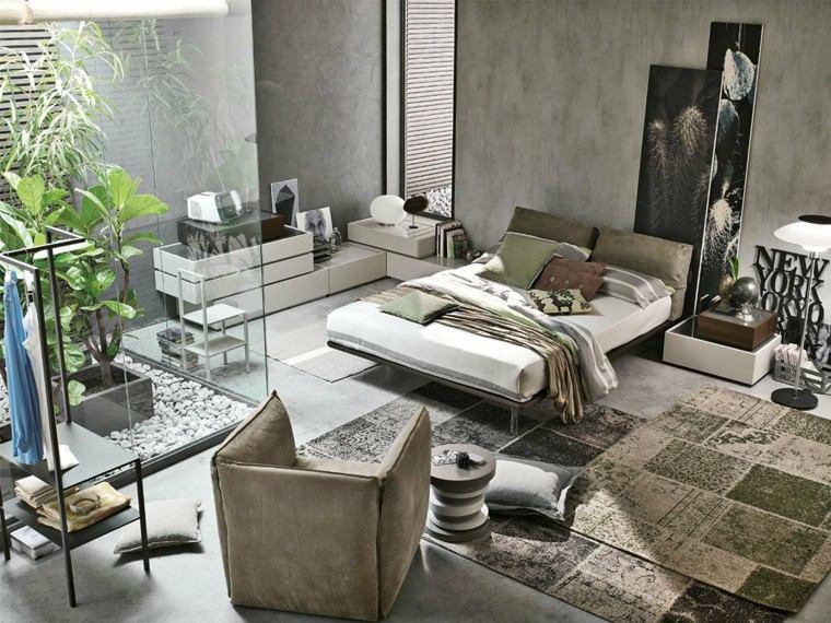 dormitorio moderno amplio jardin baldos plantas ideas