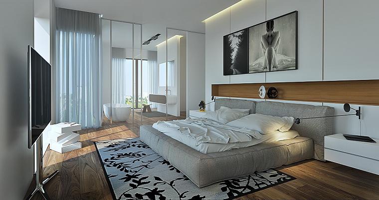 dormitorio moderno bano abierto puertas cristal ideas