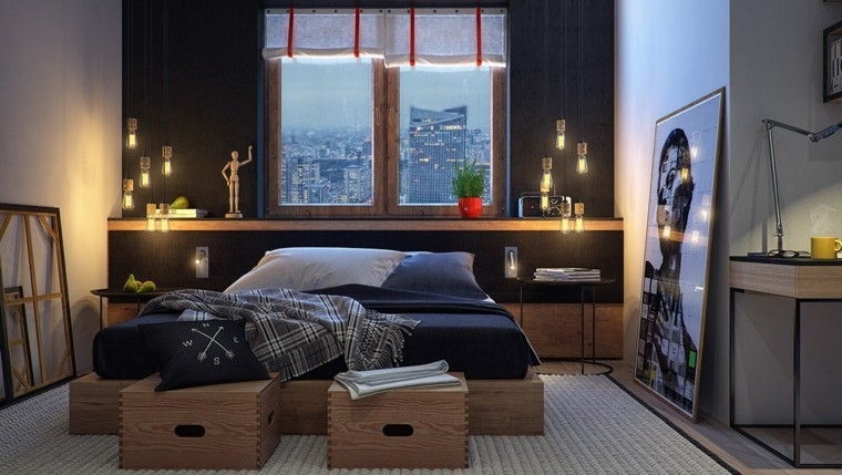 dormitorio moderno cajas madera pared azul matrimonio joven ideas