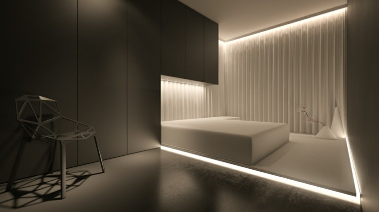 dormitorio moderno cama blanca iluminacion original paredes grises minimalista ideas with iluminacion dormitorio moderno
