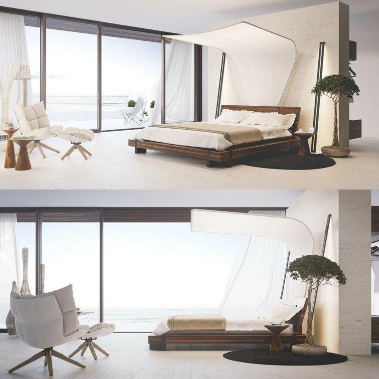 dormitorio moderno cama dosel creativo sillones ideas