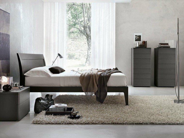 dormitorio moderno cama muebles madera color oscuro ideas