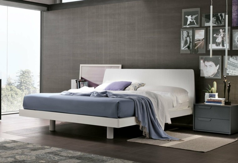 dormitorio moderno colores oscuros pared ideas