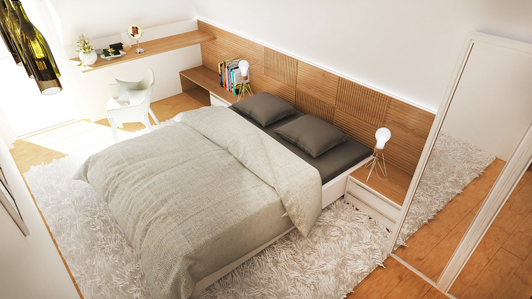 dormitorio moderno diseno simple armario puertas cristal ideas