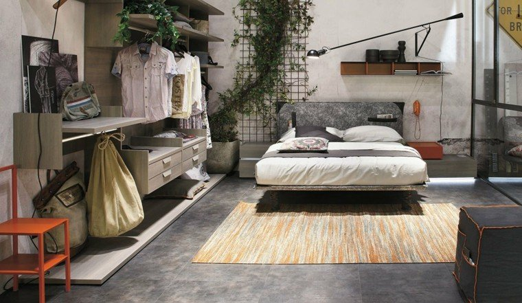 dormitorio moderno jardin vertical estanterias ideas
