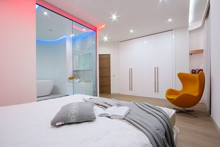 Cuartos de ba o acristalados en el dormitorio 25 ideas - Habitaciones con luces ...