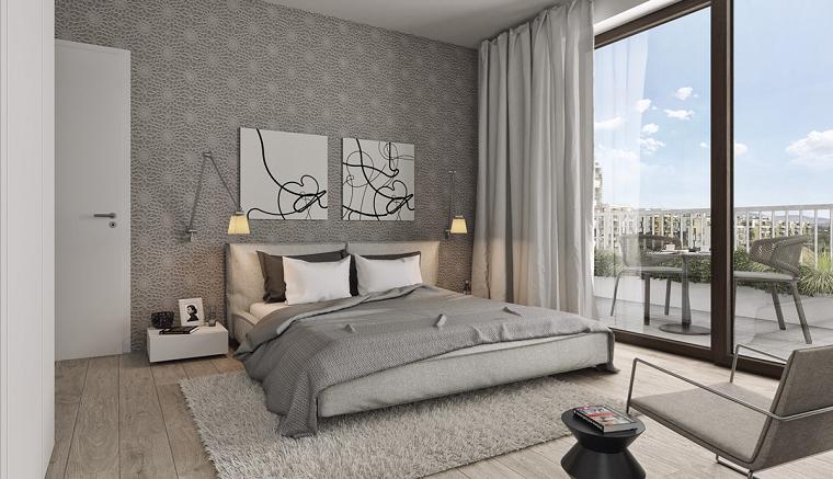 dormitorio moderno luminoso cuadros pared gris ideas